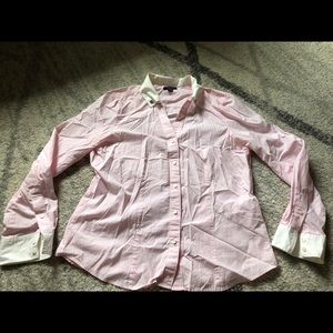 Nautica pink and white stripe button down size 16